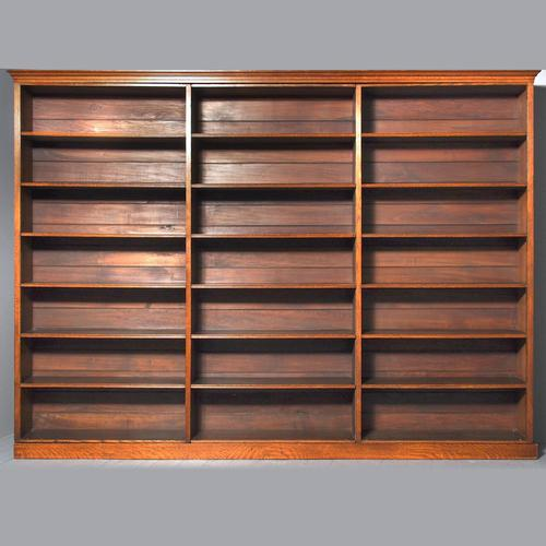 Large Victorian Oak Open Bookcase (1 of 8)