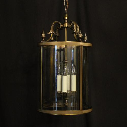 French Gilded Four Light Convex Hall Lantern (1 of 10)