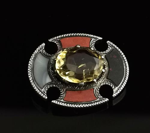 Antique Scottish Agate and Citrine Brooch, Sterling Silver (1 of 11)