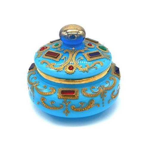 Very Important Rare Large Opaline Glass Box in Turquoise for the Oriental Market (1 of 5)