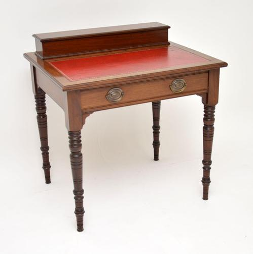 Antique Victorian Mahogany Leather Top Desk / Writing Table (1 of 13)