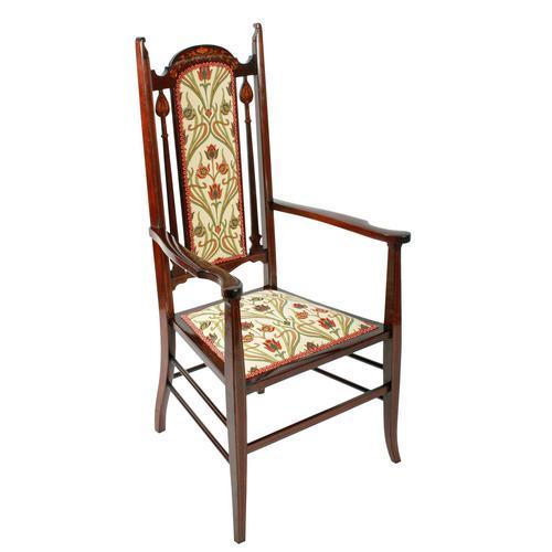 Art Nouveau Inlaid Mahogany Armchair (1 of 8)