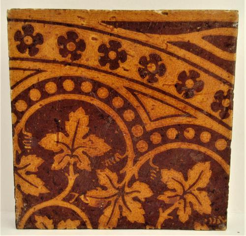 Craven Dunnill Encaustic Floor Tile with Gothic Pattern c.1860 (1 of 2)