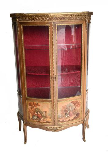 French Display Cabinet Vernis Martin Painted Bijouterie c.1900 (1 of 16)