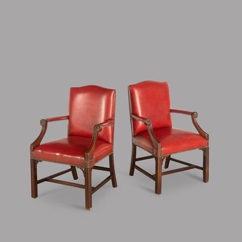 Pair of Edwardian  Leather Gainsborough Style Open Armchairs (1 of 4)