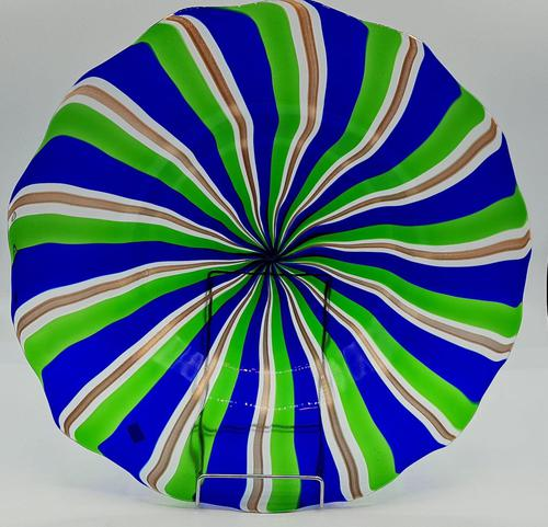 Rare Murano Glass XL Size Platter with Swirled Coloured Stripes (1 of 10)