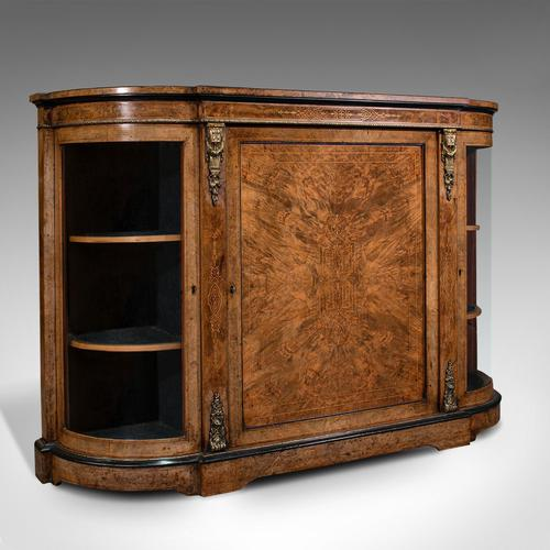 Antique Credenza, English, Burr Walnut, Sideboard, Display Cabinet, Regency (1 of 12)