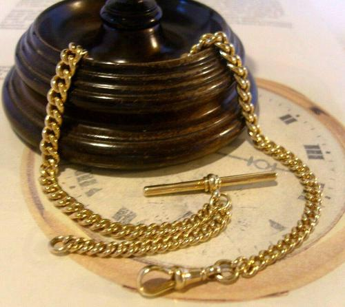 Antique Pocket Watch Chain 1890s Victorian Large 14ct Gold Filled Albert With T Bar (1 of 12)