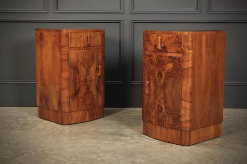 Pair of Art Deco Walnut Bow Front Bedside Cabinets (1 of 15)