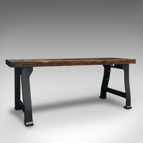 Antique Foundry Table, English, Pine, Iron, Heavy, Industrial Taste, Victorian (1 of 12)