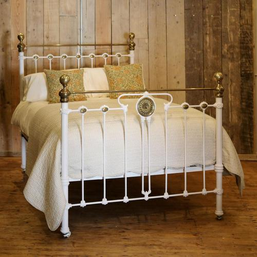 Late Victorian Brass & Cast Iron Antique Bed in Cream (1 of 5)