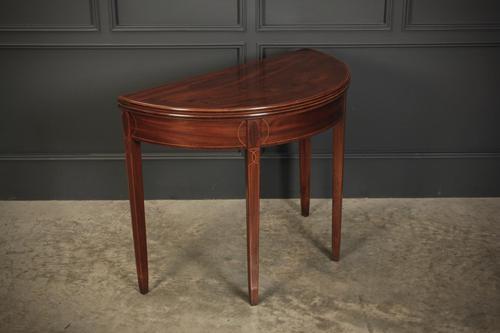 Regency Mahogany Demi Lune Inlaid Tea Table (1 of 15)