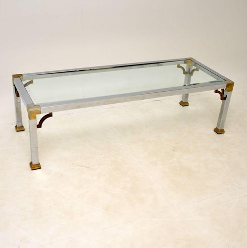 Vintage Chrome & Brass Coffee Table (1 of 8)