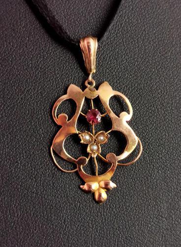 Antique Art Nouveau Lavalier Pendant, Ruby & Pearl, 9ct Gold (1 of 10)