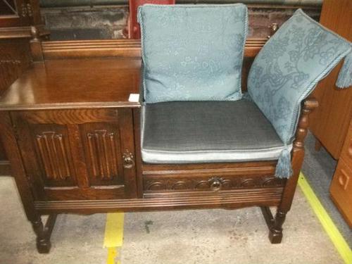 Carved Oak Linenfold Hall Seat (1 of 2)