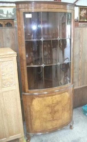 Glazed Burr Walnut Corner Cabinet (1 of 7)