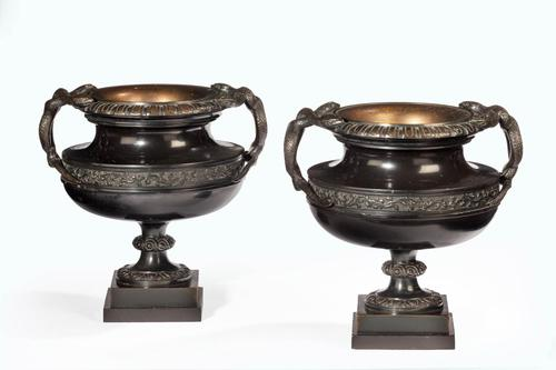 Handsome Pair of 19th Century Bronze Neoclassic Urns (1 of 6)