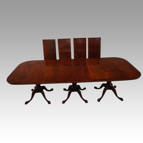 Large George V 3 Pillar Mahogany Dining Table (1 of 10)