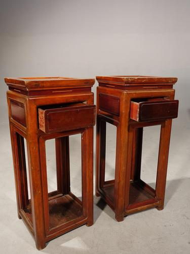 Attractive Pair of Early 20th Century Elm High Stands (1 of 5)
