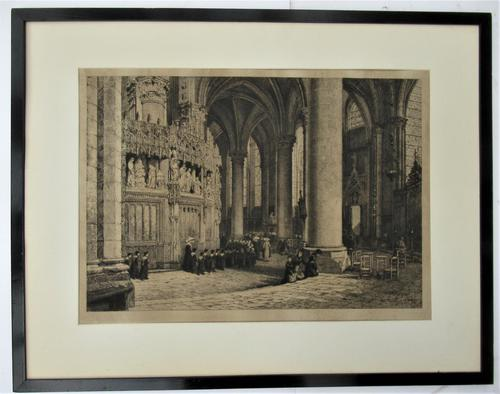 Fine antique print, Axel Herman Haig etching, Chartres Cathedral, signed 1881 (1 of 9)