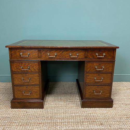 Quality Oak Victorian Antique Pedestal Desk (1 of 8)