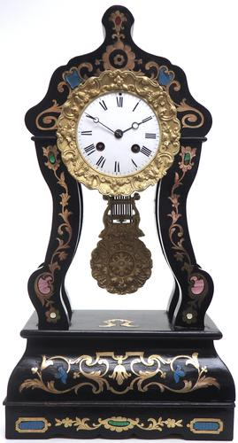 Antique Boulle Inlaid Mantel Clock Ebony French Portico Mantle Clock (1 of 6)
