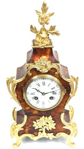 Antique French Shell & Ormolu 8-Day Striking Mantel Clock Rococo Boulle Case Segment Dial Signed (1 of 13)