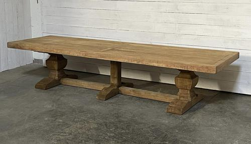 Enormous French Bleached Oak Farmhouse Dining Table (1 of 38)