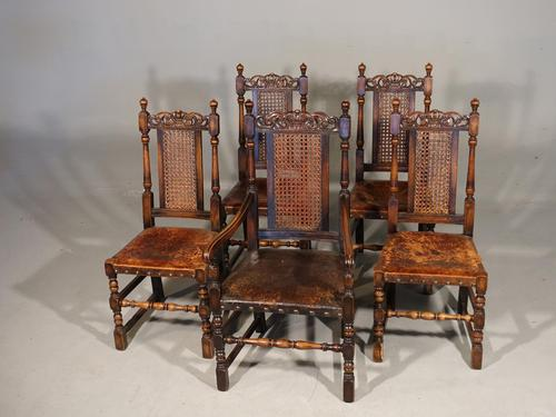 Well Carved Set of 5 '4+1' Carolean Style Oak Chairs c.1910 (1 of 9)