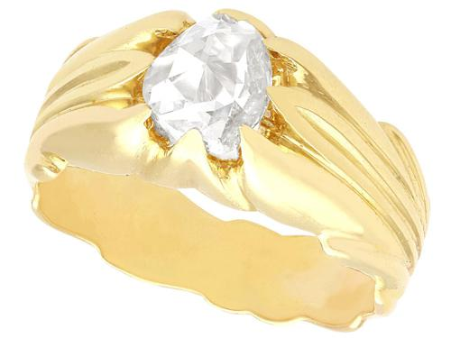 0.75ct Diamond & 18ct Yellow Gold Gent's Solitaire Ring - Antique French c.1910 (1 of 9)