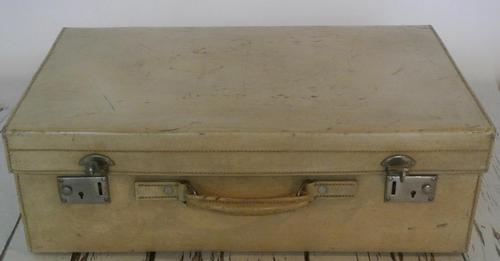 1930's Large Handmade Vellum Leather Suitcase with high quality locks (1 of 8)