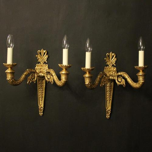 French Pair of Gilded Bronze Twin Arm Antique Wall Lights (1 of 10)