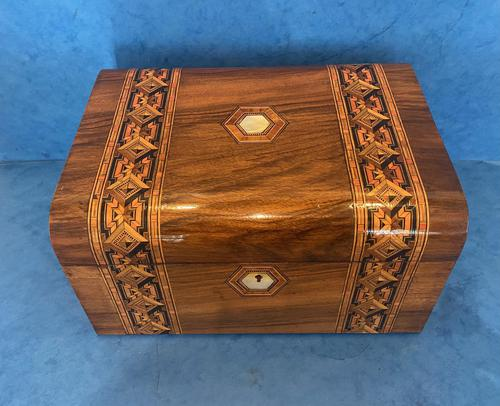Victorian Walnut Jewellery Box with Tunbridge Ware Inlaid Bands (1 of 11)