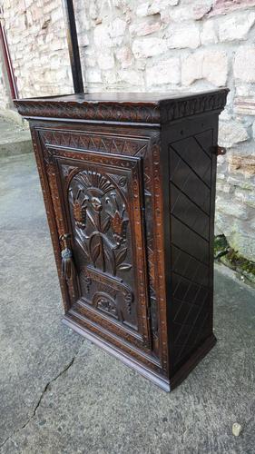 Carved Oak Wall Cupboard (1 of 8)