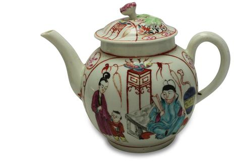 First Period Worcester Hand Painted Teapot (1 of 8)