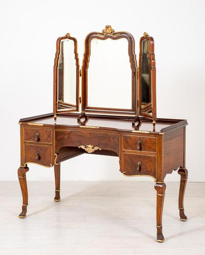 Quality Queen Anne Style Walnut Dressing Table & Mirror c.1920 (1 of 14)