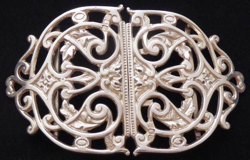 Rare Victorian 1900 Hallmarked Solid Silver Nurses Belt Buckle Elkington & Co (1 of 7)