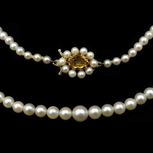 Vintage Pearl and Citrine 9ct Yellow Gold Beaded Pearl Strand Necklace (1 of 11)