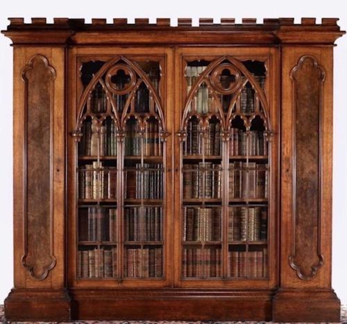 Exquisite victorian gothic pollard oak cabinet bookcase (1 of 2)