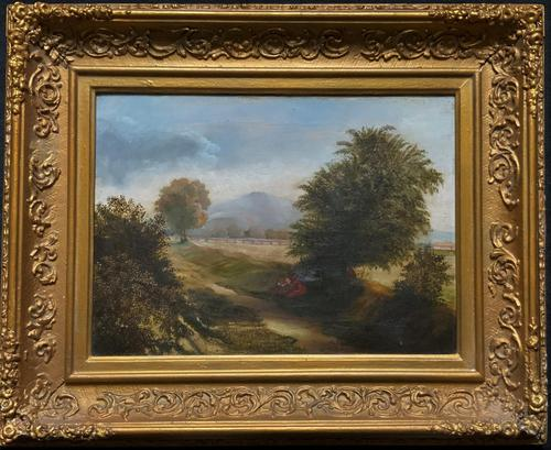 19thc British School - Travellers at Rest - Stunning Landscape Oil Painting (1 of 12)