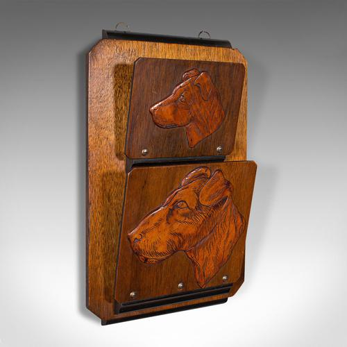 Antique Decorative Dog Letter Rack, English, Mahogany, Oak, Wall, Edwardian (1 of 8)