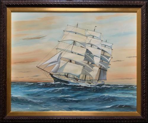 Awesome Tea Clipper Ship 'Hornet' Rough Seas Seascape Watercolour Painting c.1909 (1 of 12)