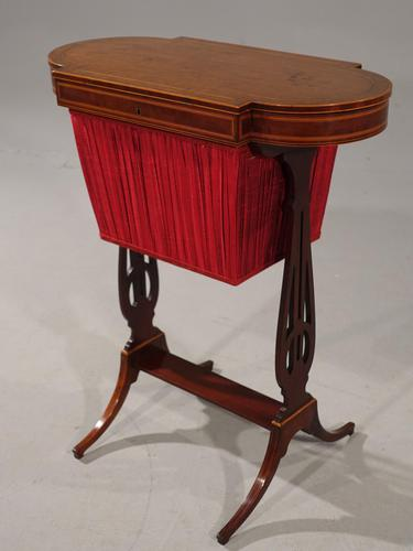 Exceptional Late Georgian Mahogany Lyre Ended Ladies Sewing Table (1 of 7)