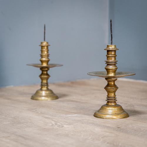 Pair of 17th Century Brass Candlesticks (1 of 10)