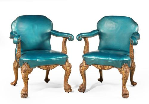 Pair of 19th Century Giltwood Armchairs by Morant & Co (1 of 8)