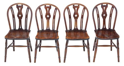 Set of 4 Elm & Beech Kitchen Dining Chairs c.1900 (1 of 7)