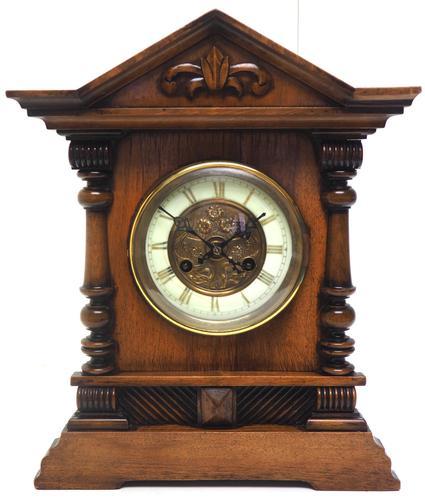 Light Mahogany Bracket Mantel Clock Architectural Striking 8 Day Mantle Clock (1 of 6)