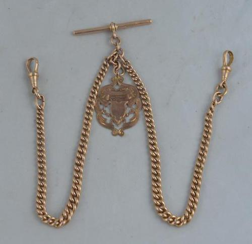 1924 9K Rose Gold Pocket Watch Chain (1 of 2)