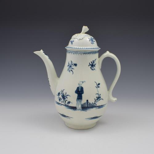 First Period Worcester Porcelain Waiting Chinaman Coffee Pot & Cover c.1770 (1 of 16)