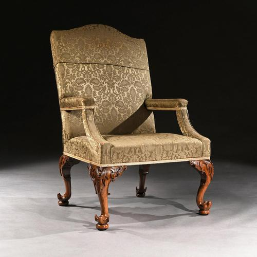 Mid 18th Century George II Walnut Library Open Armchair of Grande Scale (1 of 9)